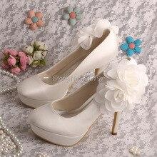 Wedopus MW1608A Пользовательские Ручной Невесты Обувь Платформы Закрыты Носок На Высоких Каблуках с Цветами