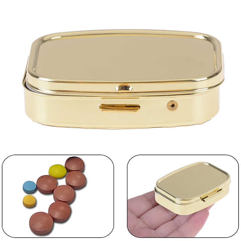 Portable Silver Metal Rectangle Round Pill Box Drug Holder Medicine Tablet Capsule Box Container Storage Travel