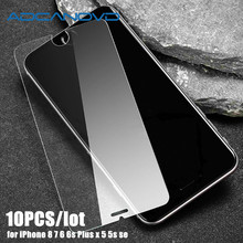 10pcs 9H Ultra-thin protective glass film for iPhone x 8 7 6 6s 5 5s se screen protector tempered glass on iphone 6 6S 7 8 Plus стоимость