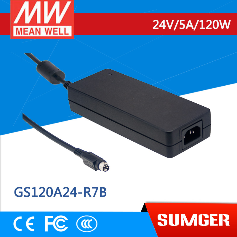 1MEAN WELL original GS120A24-R7B 24V 5A meanwell GS120A 24V 120W AC-DC Industrial Adaptor 1mean well original gsm160a24 r7b 24v 6 67a meanwell gsm160a 24v 160w ac dc high reliability medical adaptor