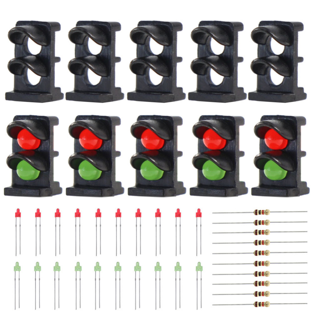 JTD14 10 sets Target Face With LEDs for Railway Dwarf Signal N Z Scale 2-light Ground Signal Traffic Light Red/Green
