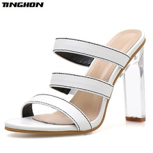 TINGHON Women PU Fashion Summer Ladies Slipper Sexy Transparent Shallow Stiletto Slippers Square Heel Monochrome Shoe Size 35-40