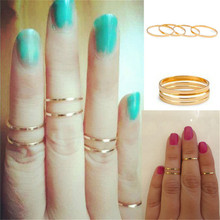 Luck Dog 5PCS/Set Gold Stack Plain Cute Above Knuckle Ring Band Midi Ring