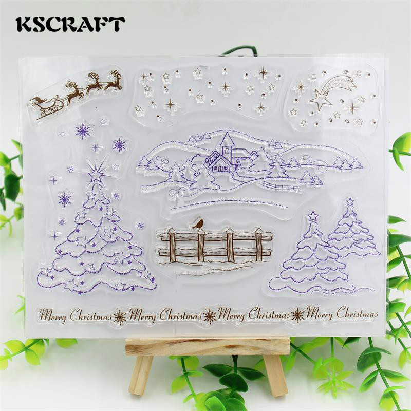 KSCRAFT Winter Transparent Clear Silicone Stamp/Seal for DIY scrapbooking/photo album Decorative clear stamp sheets lovely animals and ballon design transparent clear silicone stamp for diy scrapbooking photo album clear stamp cl 278