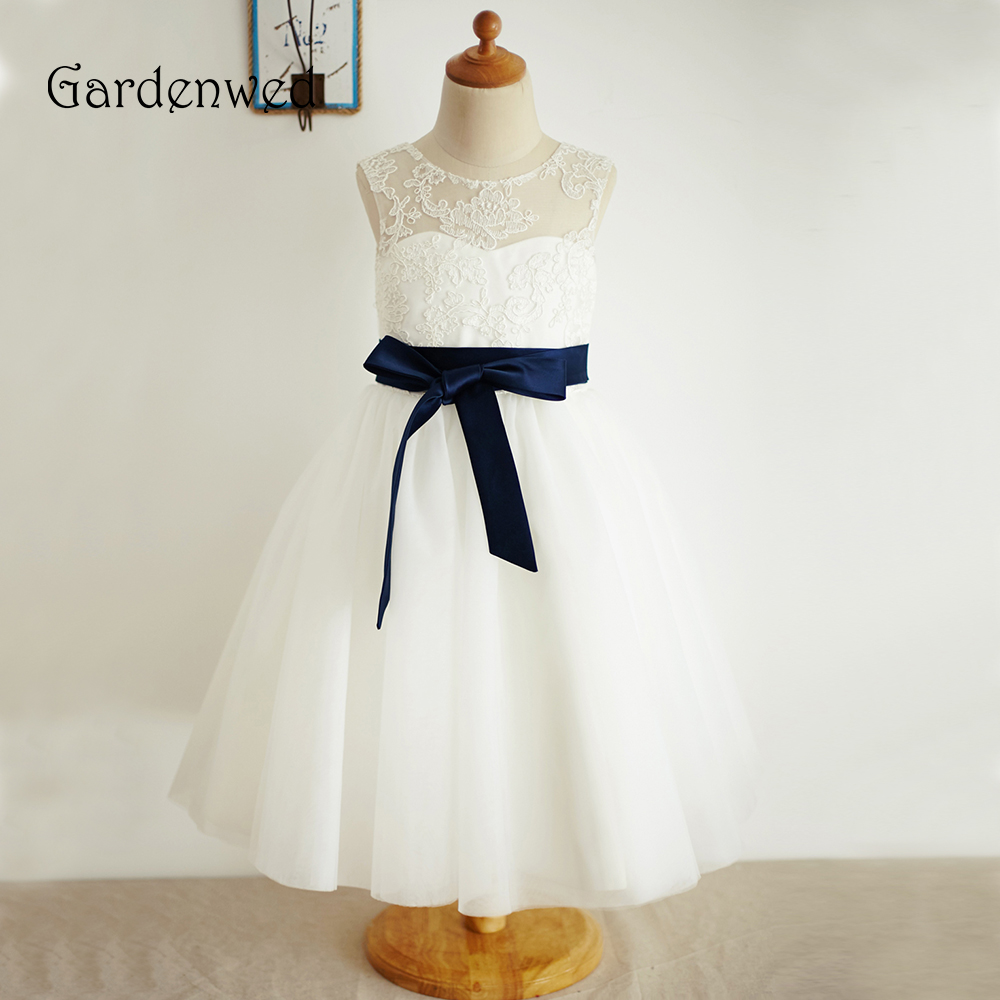 Gardenwed Tea Length Ivory Lace   Flower     Girl     Dresses   Navy Sashes Little   Girls   Kids   Dress   for Wedding Pageant Gowns