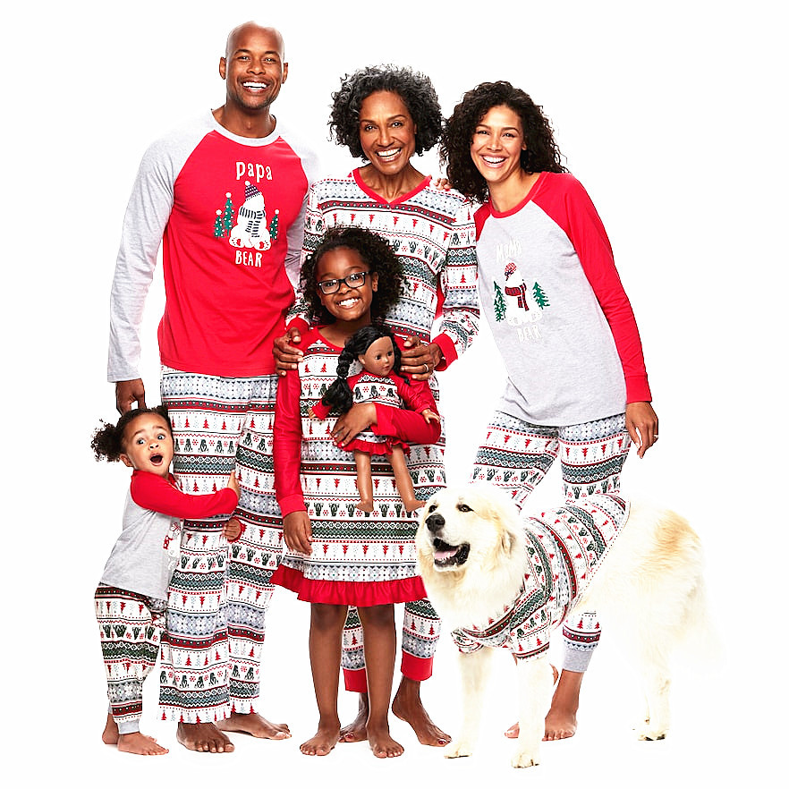 Family Christmas Pajamas With Dog.Us 5 96 30 Off Family Christmas Pajamas Set Family Matching Outfit Winter Cotton Long Sleeve Father Mother Children Sweater Shirt In Matching Family