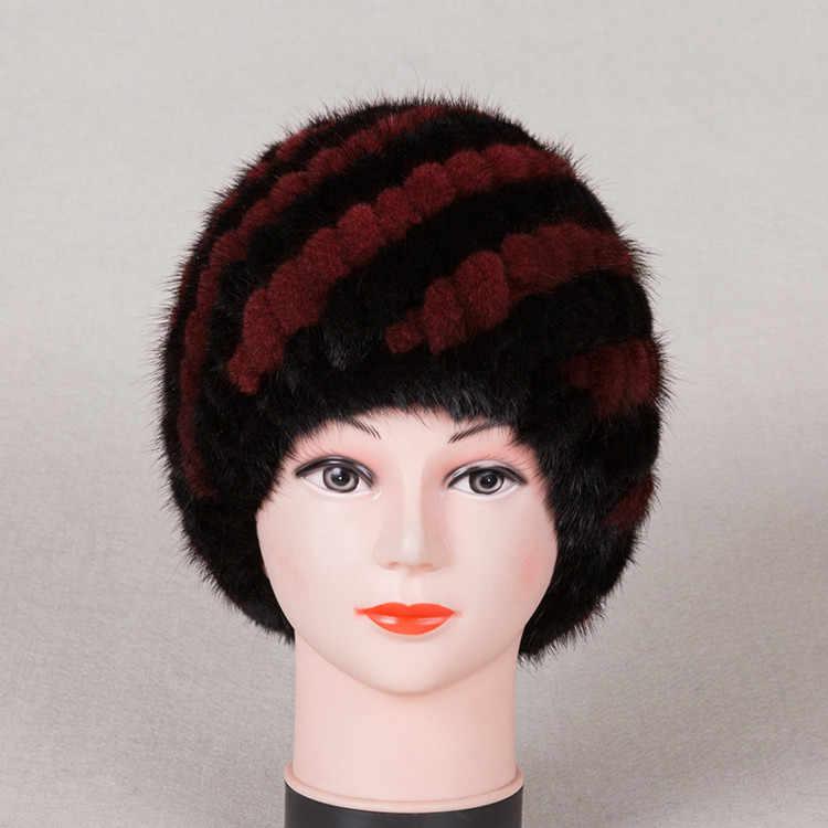 Moda de nova Genuine real natural malha Mink Fur Hat mulheres feito à mão knit Inverno Moda Chapelaria cap Boinas H602