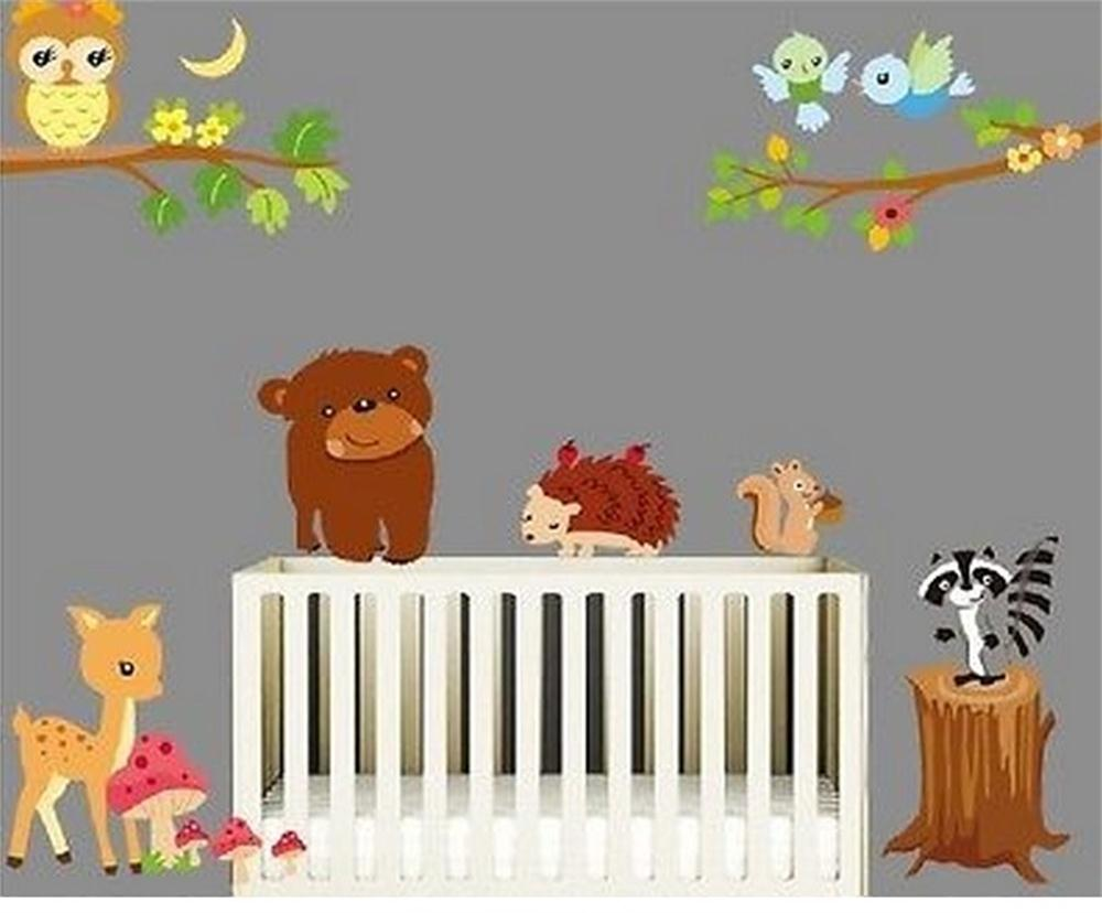 popular squirrel wall decal buy cheap squirrel wall decal lots bear owl deer squirrel bird animal wall stickers for kids room decorations cartoon wall art zoo
