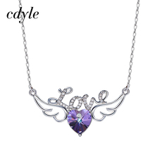 Cdyle Crystals From Swarovski Necklaces Women Pendant Heart Shaped Purple Lover Letter Pattern Geometric Vintage Fashion Chic(China)