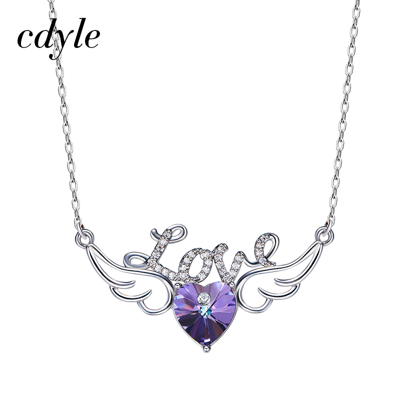 Cdyle Crystals From Swarovski Necklaces Women Pendant Heart Shaped Purple Lover Letter Pattern Geometric Vintage Fashion Chic