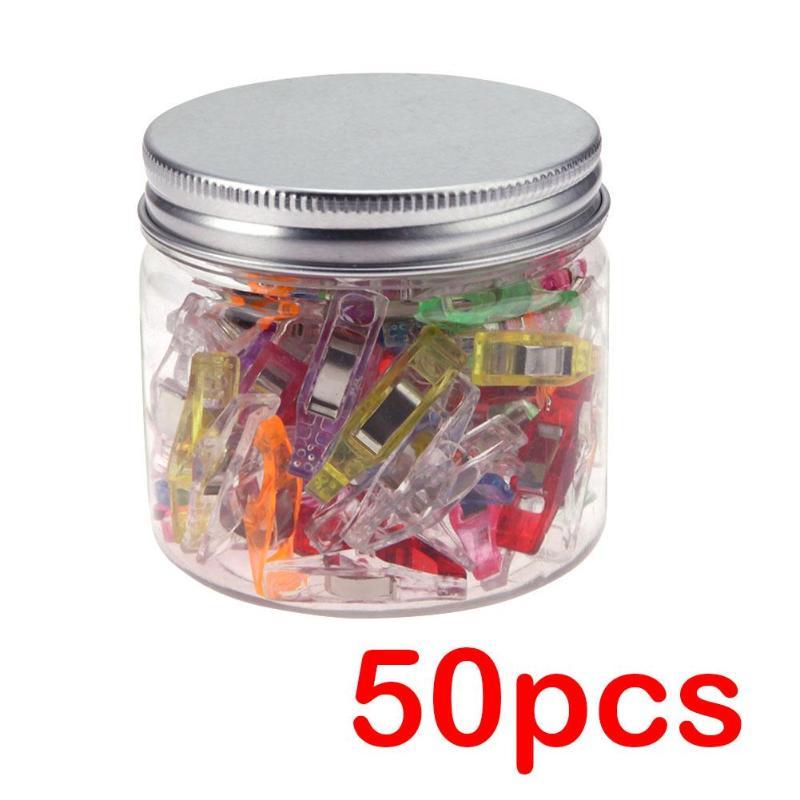 50 шт./банка многоцветные пластиковые зажимы для поделок, лоскутные зажимы для шитья фотобумаги, держатель для органайзера, зажимы для офиса
