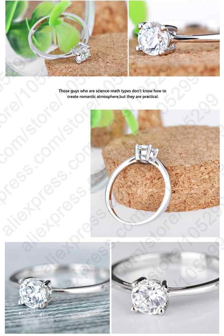 โรงงานราคา 925 เงินสเตอร์ลิงแหวนเรียบง่ายสำหรับผู้หญิงที่ดีที่สุดของขวัญ Shiny Clear Zircon CZ เครื่องประดับคริสตัล