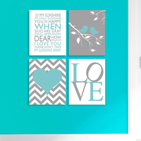 Cartoon Chevron Print Canvas Wall Pictures For Nusery Room Home Decoration Print On Canvas Set Of