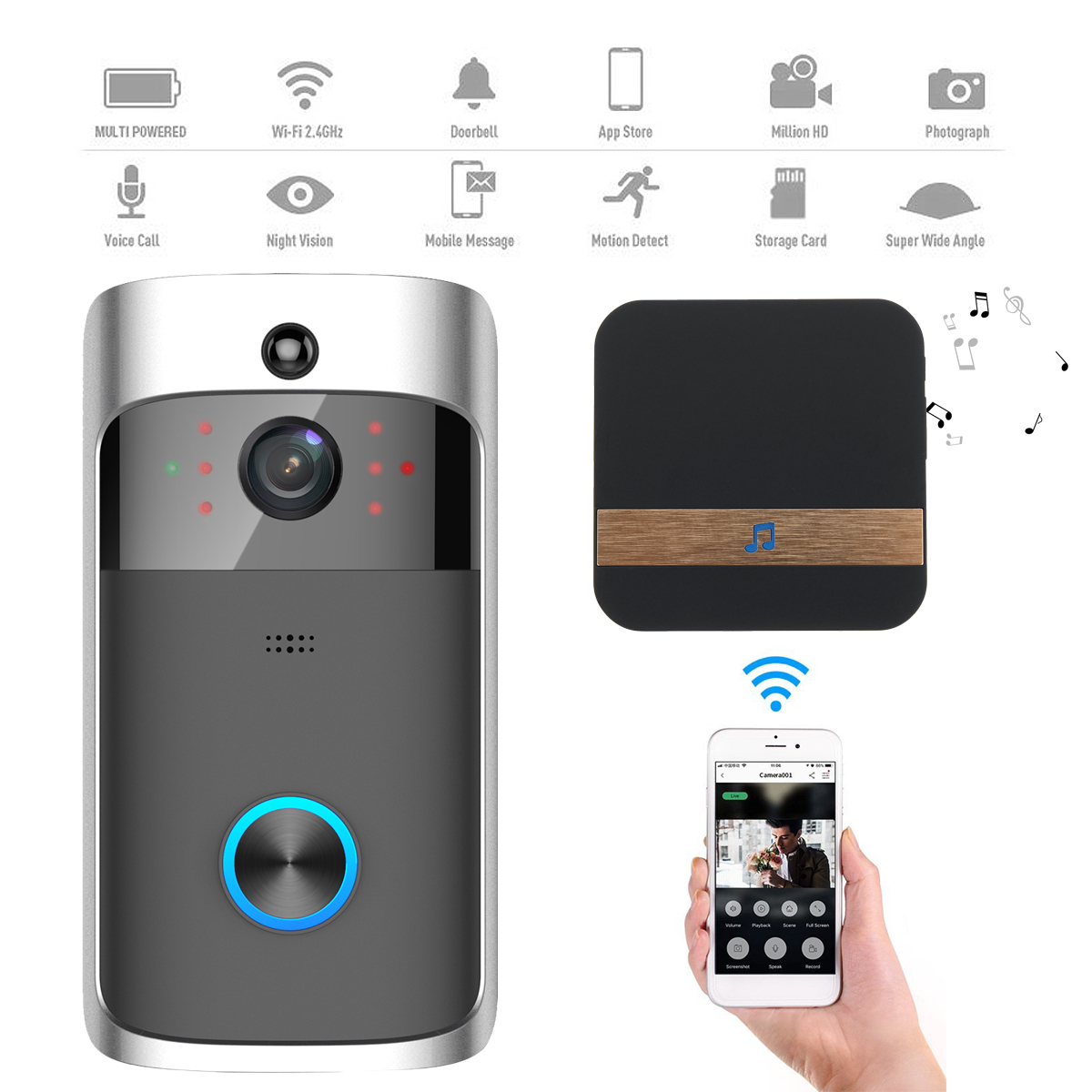 1280*720 p Multi funzione di motion detection campanello Wifi Largo Angeli di Visual campanello Intelligente Senza Fili Kit di Sistema Con Coperta campana