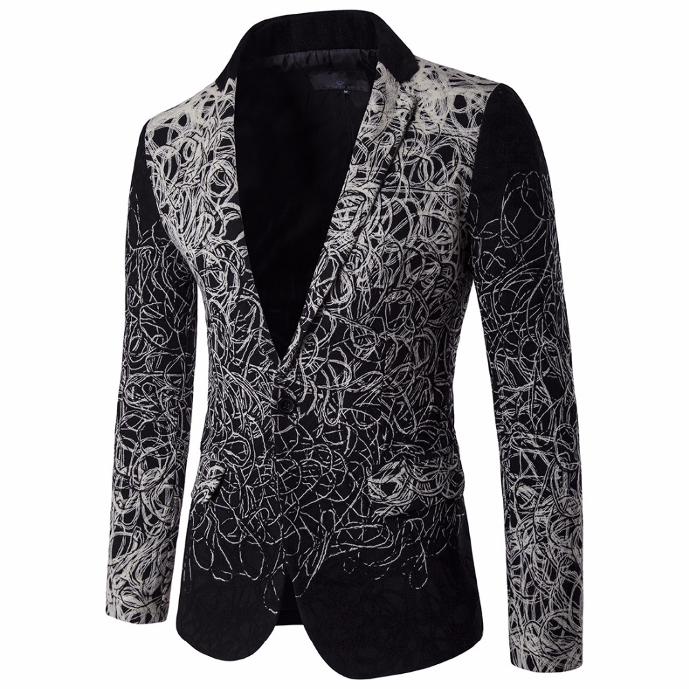 2016 European and American High-end disc flower Man Blazers trend single breasted leisure suit D060