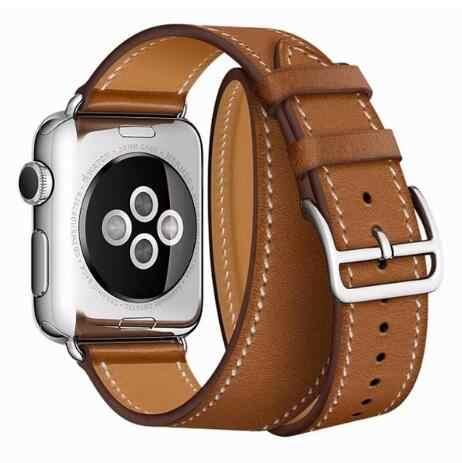 Hohe qualität Extra Lange Leder schleife für iwatch Serie 4 2 3 1 für Apple Uhr band 40mm 44mm Doppel Tour Strap 38mm 42mm