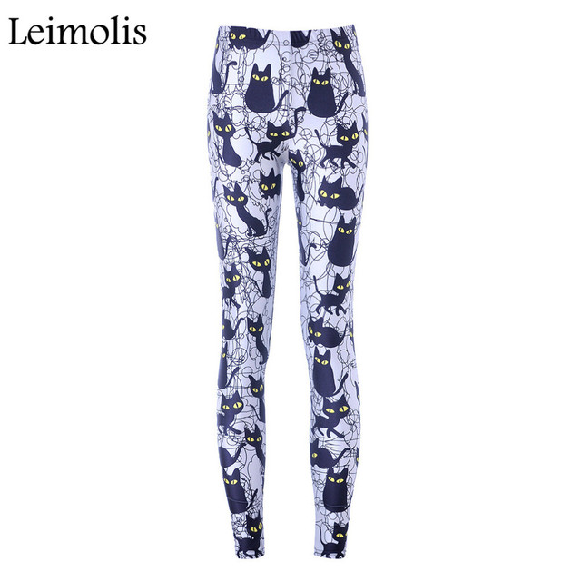 c141f63263c1b Leimolis High Waist punk rock Harajuku workout push up fitness sexy 3d print  night black cat women leggings plus size