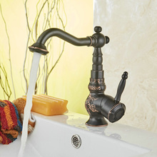 free shipping luxury swivel black antique brass basin faucet deck mounted bathroom sink mixer tap B-10702H все цены