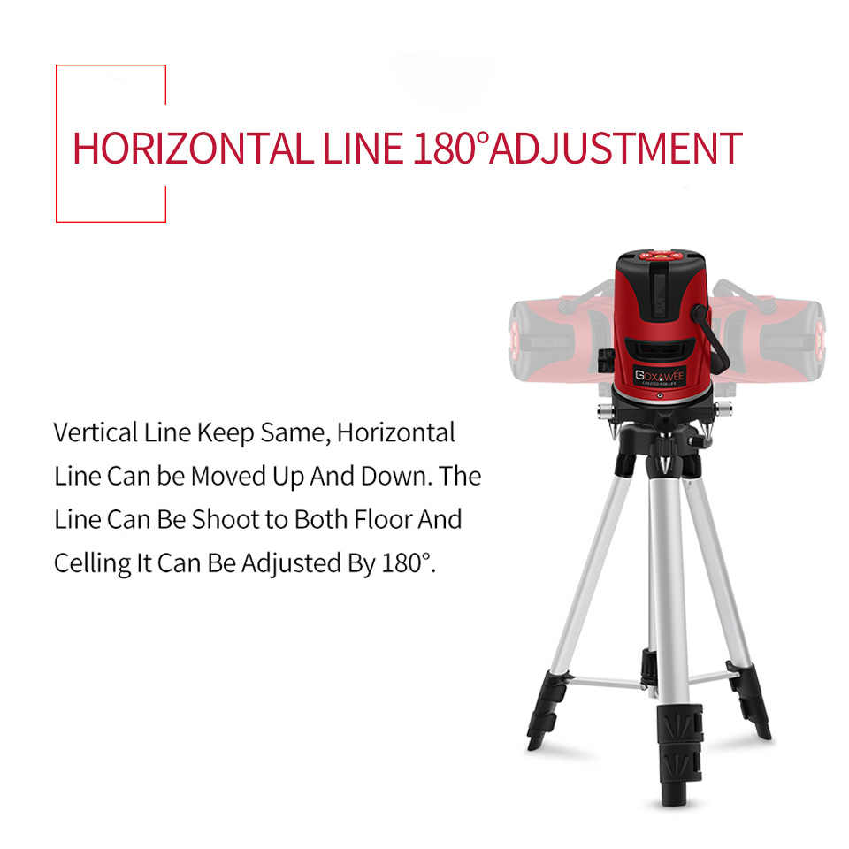 GOXAWEE Laser Level 5 Lines 6 Points 360 Degree Rotary Cross Line Self-Levelling Measuring Laser Construction Tools With Tripod