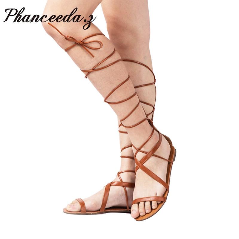 New 2016 Women Sandals Fashion Gladiator Sandal Sexy Cutout Knee High Sandalias Flip Flops Summer Style Casual Shoes Woman