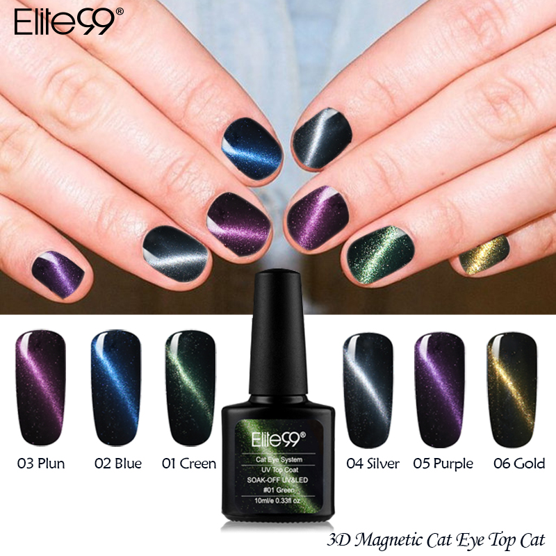 Elite99 All 6pcs / lot 3D Magnetic Cat Eye Top Coat Necesita un imán - Arte de uñas
