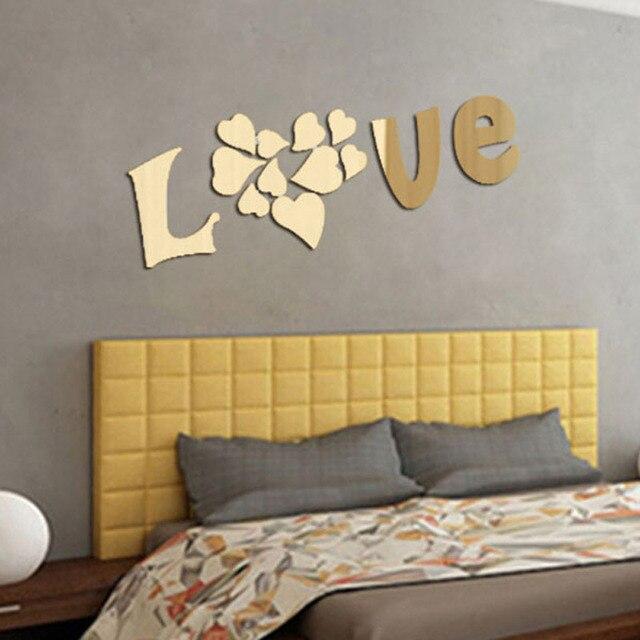 Liebe Herz Muster Wandaufkleber Gold Silber 3D Acryl Spiegel Dekoration  Wandaufkleber Wohnzimmer Wandaufkleber P20