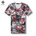 2016 Hombres Floral Camisetas de Los Hombres de Moda Casual Slim Fit Grande tamaño Verano de Manga Corta Con Cuello En V T-shirt Tees Camisa Masculino hombres