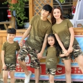 New Summer Family Matching clothing Army Green camouflage mother girls father Boys tshirt pants fish print Tops shorts sets