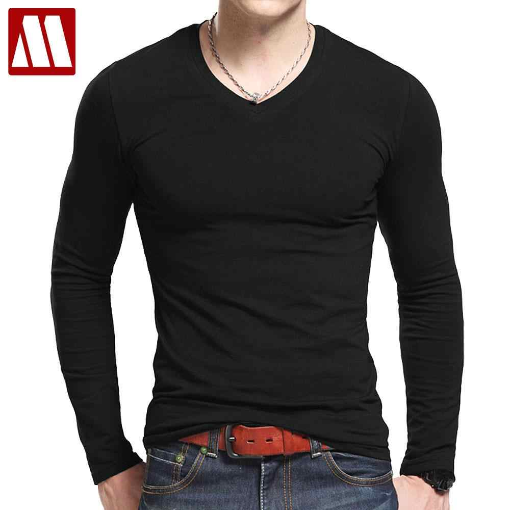 237ad1aab9fdd Plus Size V Neck T Shirts Men Long Sleeve Tshirts Fitness T-shirts Solid  Color