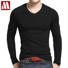 Plus Size V Neck T Shirts Men Long Sleeve Tshirts Fitness T-shirts Solid Color Fitted HipHop Mens Clothing Cotton Material Tees
