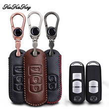 цена на KUKAKEY Car Leather Key Case Cover  For Mazda 2 3 5 6 8 CX5 CX7 CX9 M2 M3 M5 M6 GT Keychain Key Holder Styling Accessories