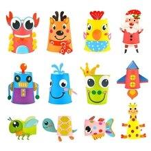 12Pcs Children 3D Diy Handmade Paper Cups Sticker Material Kit Whole Set Kids Kindergarten School Art