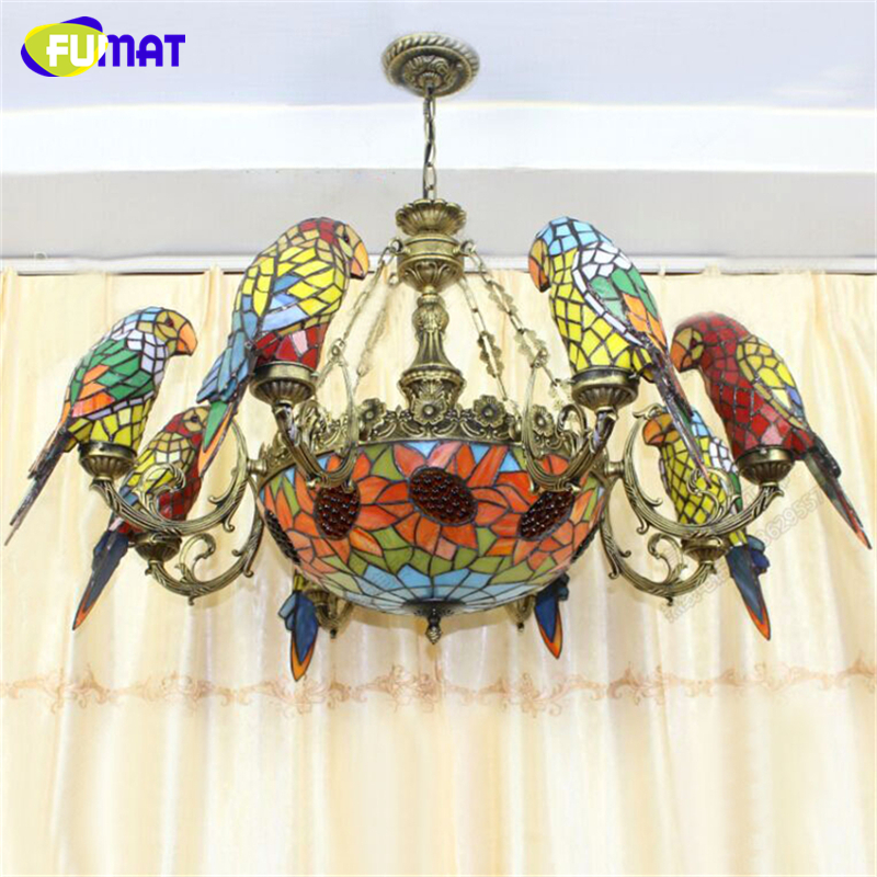 FUMAT Parrot Shape Chandelier European Vintage Artistic Stained Glass Birds Light Bar Living Room Hanging Lamp led Chandeliers fumat parrots shape chandelier european vintage glass shade light dining room hanging lamp pendientes lustre light fixtures