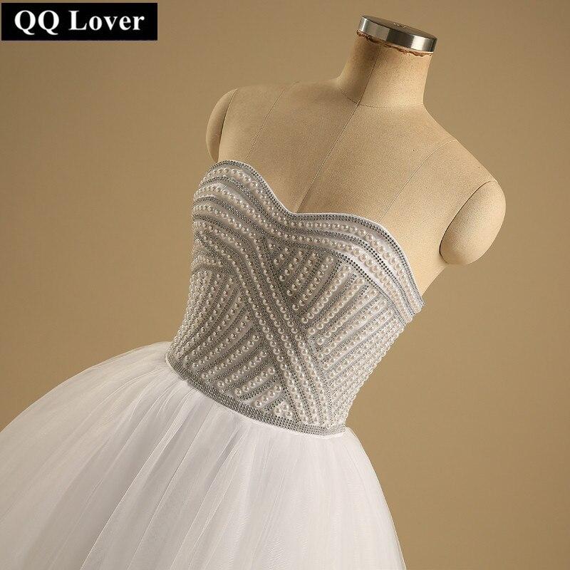 QQ Amant 2018 Dernière Super De Luxe Perlé Robe De Mariage Très Élégant Custom Made robe de Bal Réel Photo Robe De Noiva