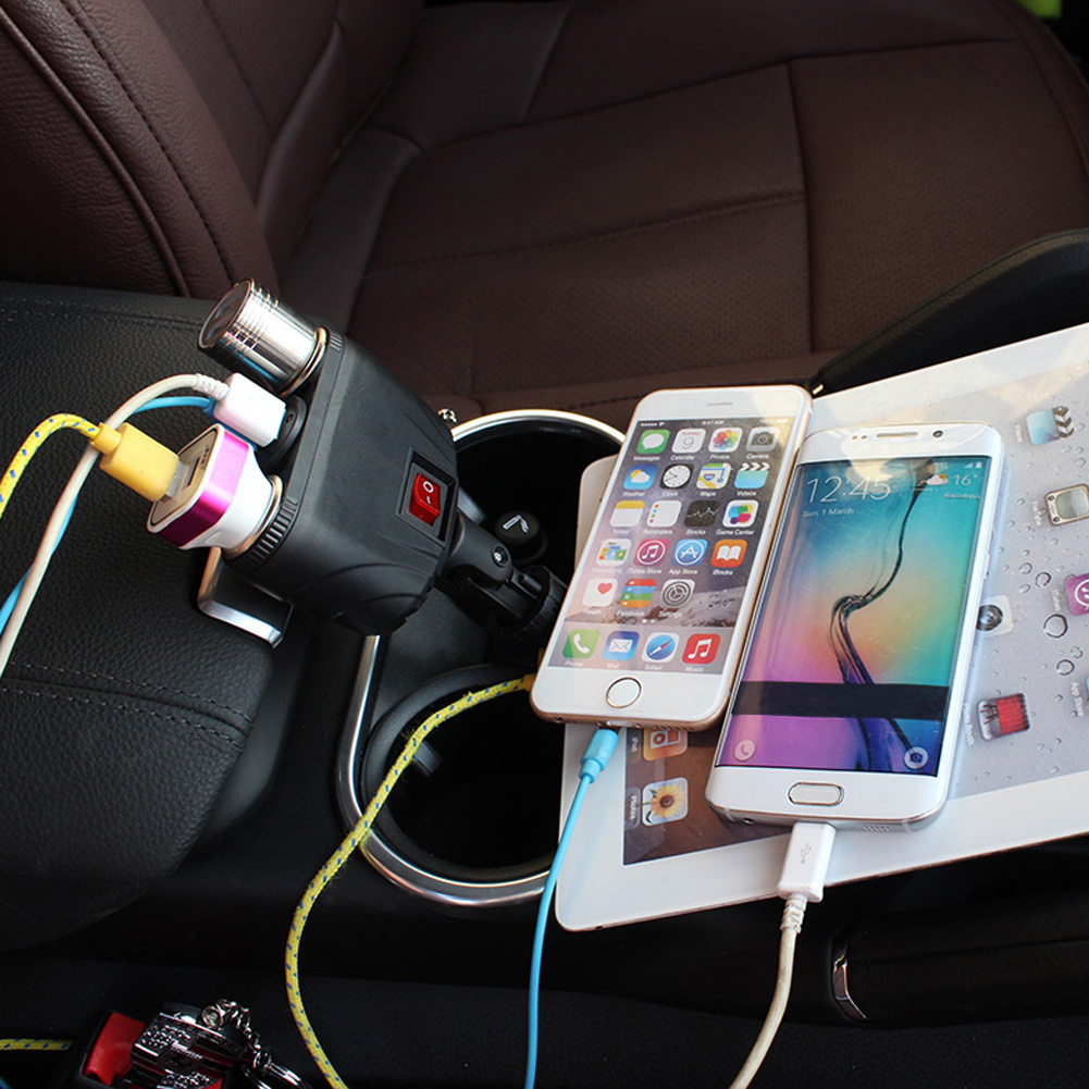 Dual USB Car Charger Adapter and Two Cigarette Lighter at STKCAR.com