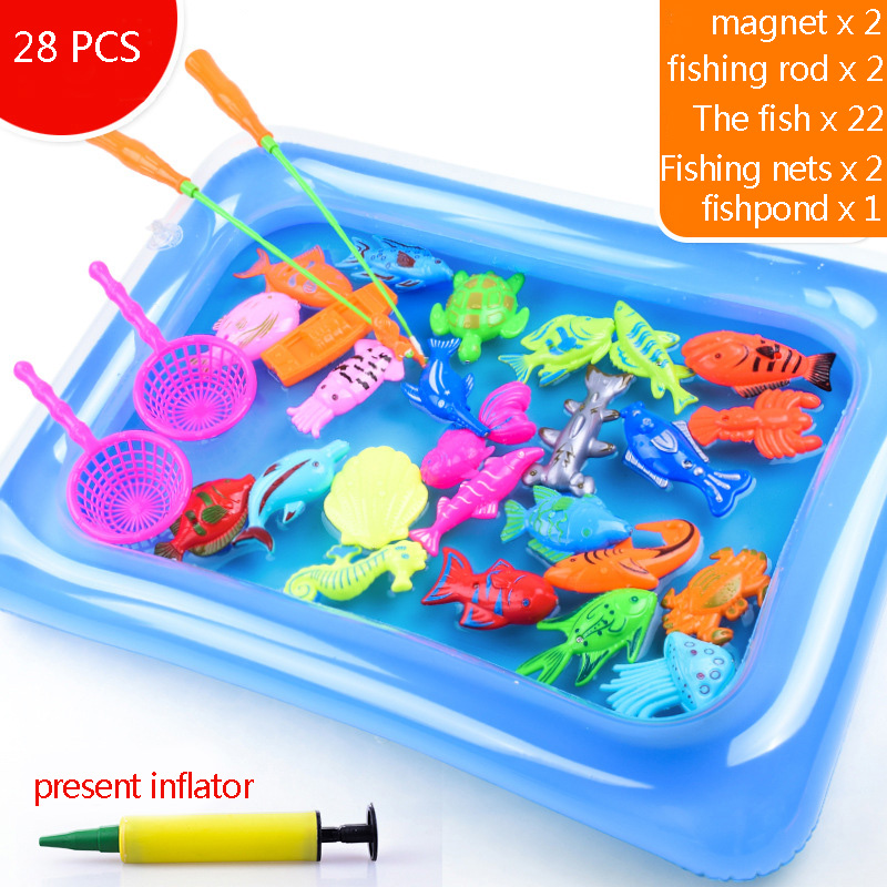 Fun Toys for Kids Fishing Toys Magnetic Floating Fishing Game Inflatable Bathtub Educational Toy Playset