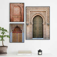 Mosque Wall Art Ancient Gates Morocco Door Canvas Painting Vintage Posters Artwork Pictures Architecture Printed for Living Room