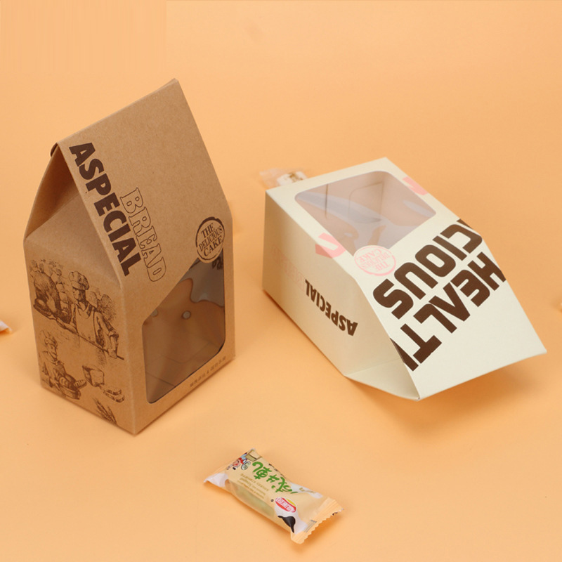 100 pcs 9x7.5x17cm candy box cookies Bread bag windows kraft paper gift packaging box candy packaging kids Birthday party White