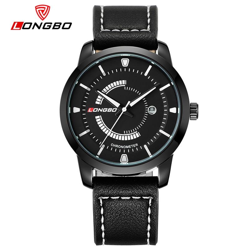 LONGBO Men Business Geniune Leather Watch Militarty Sports Waterproof Quartz Watch Calendar Wristwatch Relogio Masculino 80203