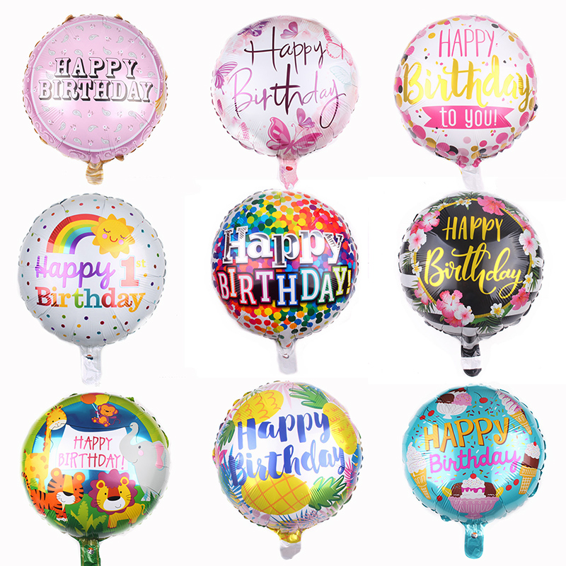 Multi Patterns 18inch Round Foil Balloon Happy Birthday Inflatable Helium Balloons Birthday Party Decoration High Quality Toys