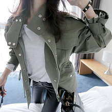 Hot Sale Streetwear Long sleeve Army green Military Casual Drawstring Trench Women's Military coat