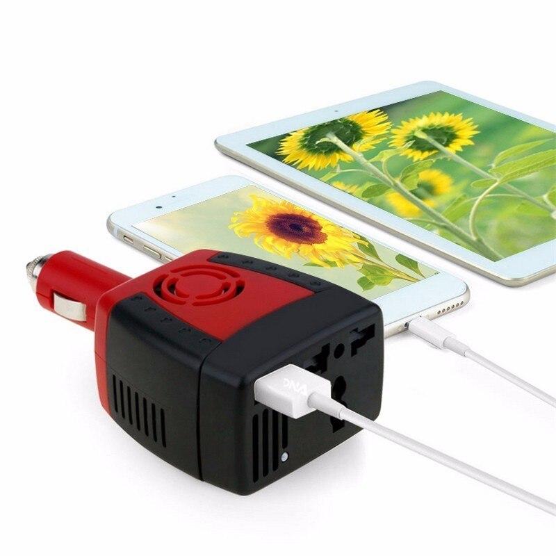 Nuevo estilo 150 W 2100mA inversor de coche fuente de alimentación USB portátil teléfono móvil cargador enchufe DC 12 V-AC transformador conversor de 220 V