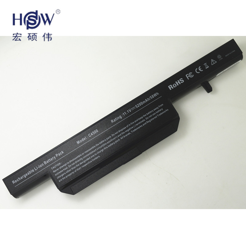 HSW New Replacement Laptop Battery C4500BAT-6 6-87-C480S-4P4 for CLEVO C4500 C4500Q B4100M B4105 B5130M W150 W170HN  bateria hot sale original quality new laptop battery for clevo d450tbat 12 d450t 87 d45ts 4d6 14 8v 6600mah free shipping