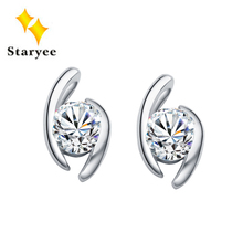 1 Carat Round Brilliant Cut Moissanite Genuine 18K Solid White Gold Stud Earrings For Women Wedding Christmas Gift