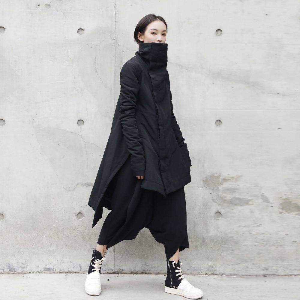Cakucool New Dark Black Women Mid Long   Parka   Cotton Liner Asymmetric Slim Winter Coats Stand Collar Slit Outerwear   Parkas   Female