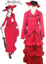 Envío Libre Negro Mayordomo Kuroshitsuji Madam Red Rojo Vestido de Cosplay del Anime