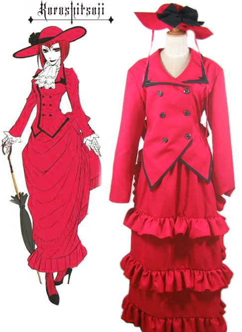 Free Shipping Black Butler Kuroshitsuji Madam Red Red Dress Anime Cosplay Costume China  Mainland