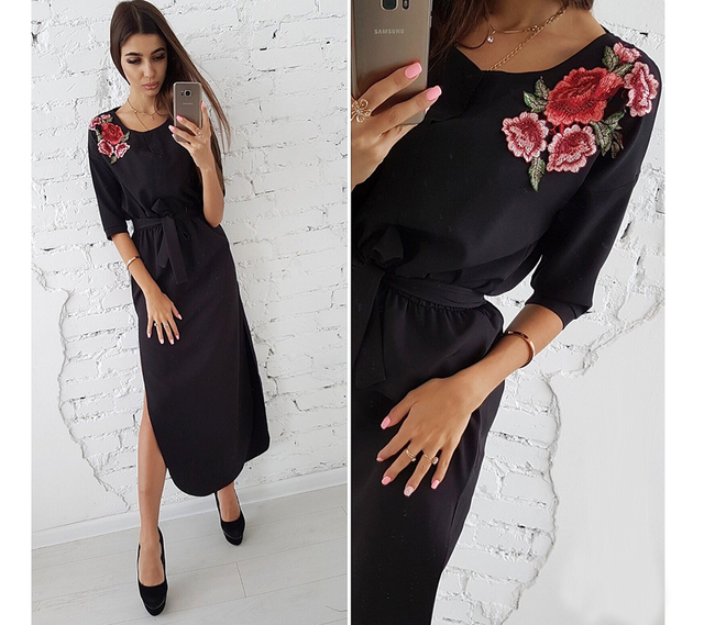 Women Vintage Elegant Half Sleeve Appliques Dress Casual Solid
