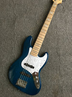 Factory wholesale GYJB 5019 blue wood color solid ASH body with black Plate 5 strings Jazz Bass Guitar, Free shipping