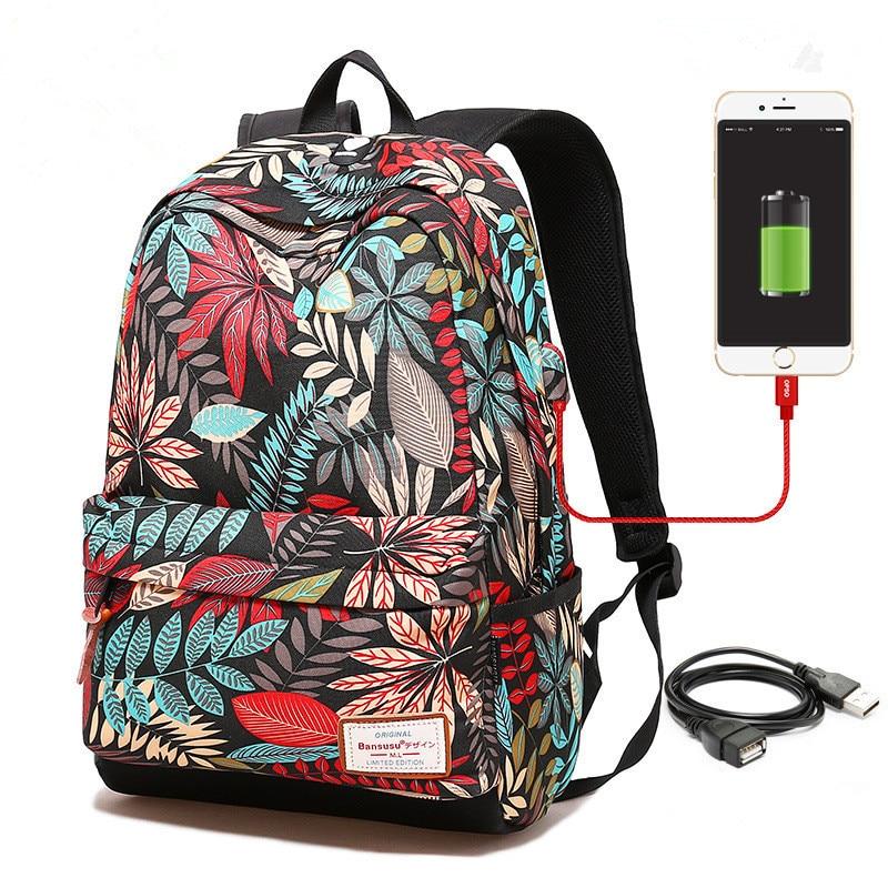Frauen USB lade laptop rucksack für teenager mädchen schule rucksack tasche Druck Weibliche Rucksäcke für studenten
